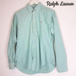 Ralph Lauren light green oxford button down top
